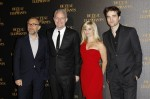 "Film director Francis Lawrence (2nd L), cast members Christoph Waltz, Reese Witherspoon and Robert Pattinson pose at the French premiere of ""Water for Elephants"" in Paris"