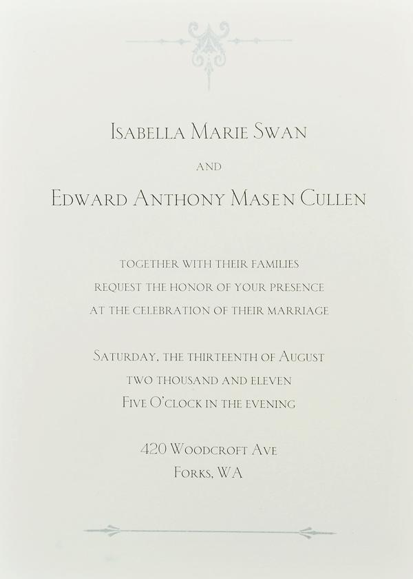 Breaking Dawn Wedding Invitation! | Thinking of Rob