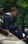 Robert Pattinson filming in New York city.