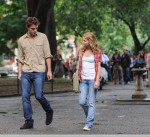 Robert Pattinson and Emilie De Ravin on the set of 'Remember Me' in Manhattan, NYC