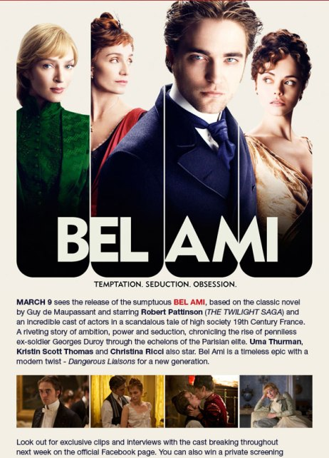 la saga robsten bel ami en cineworld digital y preview guide de la pel cula actualizado. Black Bedroom Furniture Sets. Home Design Ideas